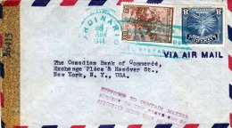 RRR! EL SALVADOR 1944 - 2 Seltene Marken Auf Zensur Brief Von San Salvador Nach New York, Subject To The Proto ... Exe - El Salvador