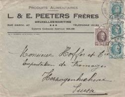 BELGIEN 1923 - 4 Fach Frankierung Auf Brief Von Brüssel In Die Schweiz - Belgien