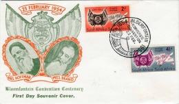 """SOUTH AFRICA 1954, 2 Fach Frankierung Auf First Day Cover Mit Sonderstempel """"Bloemfontein Convention 1954"""" - Stamps"""