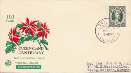 """AUSTRALIA 1960 - 5d Frankierung Auf First Day Cover """"100 Years Queensland Centenary"""" Mit Sonderstempel - Ersttagsbelege (FDC)"""
