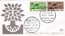 YEMEN 1960 - 2 Sondermarken Auf Brief , Sonderstempel - Jemen