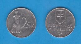 ESLOVAQUIA  2 CORONAS   1.993    Niquel Acero   KM#13  MBC   DL-10.896 - Eslovaquia