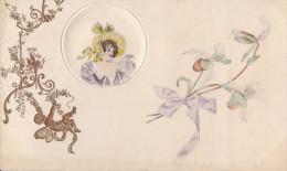 Belle CPA Gaufrée  Illustrée  Médaillon  PORTRAIT De Femme  Sur Coussinet Décors Dorés ANGE - Non Classés