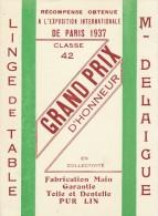 Publicitaire Kaart Carte Pub RARE Publicité DELAIGUE EXPOSITION INTERNATIONALE 1937 GRAND PRIX DENTELLES RETOURNAC 43 - Retournac