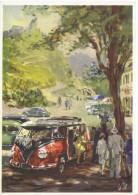 Volkswagen Microbus Advertising Postcard - Artwork By Victor Mundorff - Voitures De Tourisme