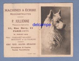 Calendrier Publicitaire De 1942 - PARIS 17e - Machine à écrire P. Jullienne - 21 Rue Davy - Chien - Calendriers
