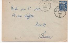 AMBULANT DE LILLE A ARRAS DU 9/11/54 - Poststempel (Briefe)