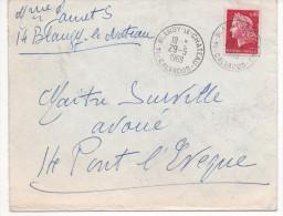 OBLITERATION SUR LETTRE DE BLANGY LE CHATEAU (CALVADOS) 1969 - Marcofilia (sobres)