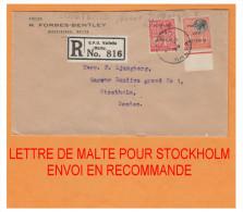 MALTE 1929 ### LETTRE DE MALTE POUR STOCKHOLM ### DESTINATION PEU COMMUNE - Malta