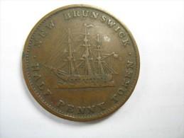 CANADA NEW BRUNSWICK  HALF 1/2  PENNY TOKEN  VICTORIA  1843 SIZE 28 MM LOT 12 NUM 9 RARE - Canada