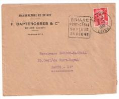 Cachet Daguin   Briare Loiret Pont Canal Sa Plage Sa Peche  1949 Yt 813 - Postmark Collection (Covers)