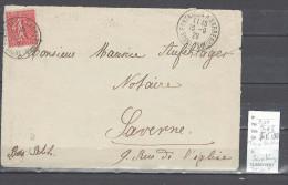 Lettre Cachet  Ambulant   Trois Fontaines à Strasbourg-Alsace - Indice 8 - Devant De Lettre - Postmark Collection (Covers)