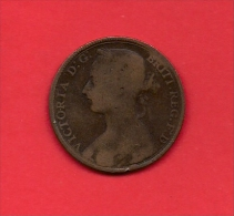 UK, Circulated Coin VF, 1894, 1 Penny, Young Victoria, Bronze, C1952 - D. 1 Penny