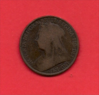 UK, Circulated Coin VF, 1895, 1 Penny,Older Victoria, Bronze, KM790 C1953 - D. 1 Penny