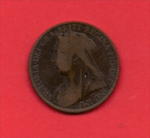 UK, Circulated Coin VF, 1896, 1 Penny, Older Victoria, Bronze, KM790 C1954 - D. 1 Penny