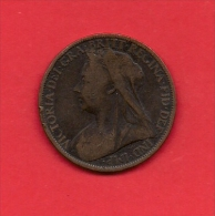UK, Circulated Coin VF, 1898, 1 Penny, Older Victoria, Bronze, KM790 C1956 - D. 1 Penny