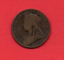 UK, Circulated Coin VF, 1899, 1 Penny, Older Victoria, Bronze, KM790 C1957 - D. 1 Penny
