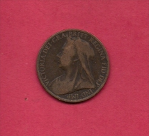 UK, Circulated Coin VF, 1901, 1 Penny, Older Victoria, Bronze, KM790 C1960 - D. 1 Penny