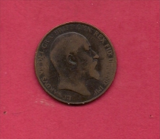 UK, Circulated Coin VF, 1904, 1 Penny, Edward VII, Bronze, KM794.2,  C1963 - 1902-1971 : Post-Victorian Coins
