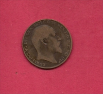 UK, Circulated Coin VF, 1905, 1 Penny, Edward VII, Bronze, KM794.2,  C1964 - 1902-1971 : Post-Victorian Coins