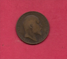 UK, Circulated Coin VF, 1906, 1 Penny, Edward VII, Bronze, KM794.2,  C1965 - 1902-1971 : Post-Victorian Coins