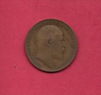 UK, Circulated Coin VF, 1909, 1 Penny, Edward VII, Bronze, KM794.2,  C1968 - 1902-1971 : Post-Victorian Coins