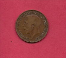 UK, Circulated Coin VF, 1915, 1 Penny, George V, Bronze, KM810,  C1974 - 1902-1971 : Post-Victorian Coins
