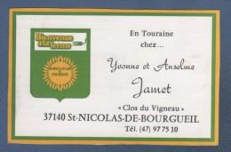 CARTE COMMERCIALE GITES CHAMBRES D'HOTES CAMPING CARAVANING JAMET CLOS DU VIGNEAU A ST NICOLAS DE BOURGUEIL 37 - Visiting Cards