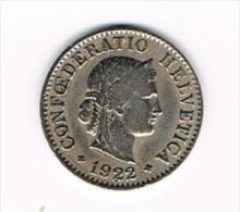 ° ZWITSERLAND  5 RAPPEN  1922 - Suiza