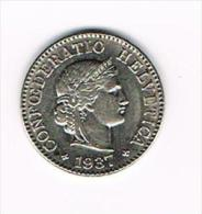 ° ZWITSERLAND  5 RAPPEN  1937 - Suiza