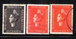 Netherlands 1938 Reign Of Queen Wilhelmina 3v Used - Period 1891-1948 (Wilhelmina)