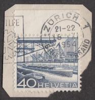 Suisse 1954, Cachet Zürich, 40 C. Port Fluvial De Bâle, YT 489 Sur Fragment. - Usati