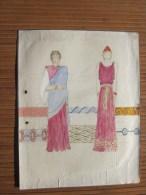 Dessin Peinture à La Gouache Original 1943 —>Thème De La Mode Féminine:Costumes Romains Toge - Stola Et Insista - Gouaches
