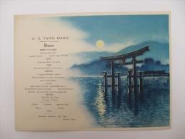 MENU PAQUEBOT - S.S.Taiyo Maru, Japon - 1933 - Menus