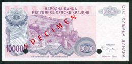 RR CROATIA , KNIN 100 000 DINARA 1993 , SPECIMEN W/O SERIAL NUMBER UNC - Croatia