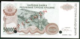 CROATIA , KNIN 500 000 DINARA 1993 , SPECIMEN , ZERO NUM.UNC - Croatia
