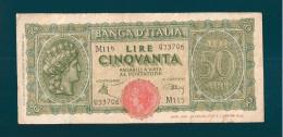 ITALIA LUOGOTENENZA 50 LIRE  10 DICEMBRE 1944 - [ 1] …-1946 : Regno