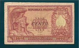 REPUBBLICA ITALIANA 100 LIRE  ITALIA ELMATA 31 - 12 - 1951 - [ 2] 1946-… : Républic