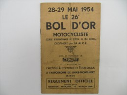 BOL D'OR 1954 - Règlement Officiel - Moto