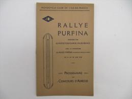 RALLYE PURFINA - Programme Du Concours D'Adresse - 1930 - Moto