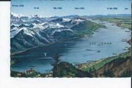 PANORAMA DU LAC LEMAN FORME DE PLAN AVEC VILLES ALENTOURS - VD Vaud