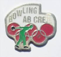 Pin's BOWLING AB CREIL (60) - ANNEAUX OLYMPIQUES - Joueur De Bowling - Tandem  - D600 - Bowling