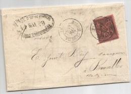 - Lettre - SEINE - PARIS - Cachet à Date T.17 S/TP Type Sage N°91 Seul S/Lettre - 1879 - 1876-1898 Sage (Type II)