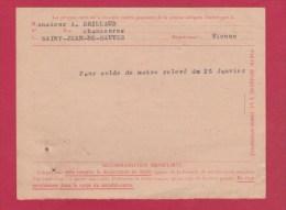 CONTRE REMBOURSSEMENT  //  DE ST MACAIRE EN MAUGES  //  POUR ST JEAN DE SAUVES  //  17/1/1959 - Documents Of Postal Services