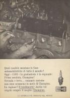 # CHAMPION SPARK PLUG 1950s MOTOR MAINTENANCE Car Italy Advert Pub Reklame Bujìas Candele Zundkerze Bougie - Transportation