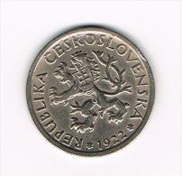 ° TSJECHOSLOWAKIJE  1 KORUNA  1922 - Tchécoslovaquie