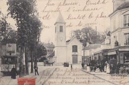 94 BRY Sur MARNE  CAFE Terrasse Animée  ARRET Du TRAMWAY Pce De L' EGLISE En  1917 - Bry Sur Marne