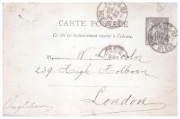 Entier Postal     France    1894 Envoi Paris  Vers L Angleterre - Entiers Postaux