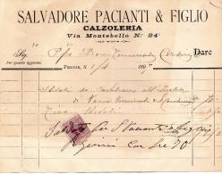 1897   FATTURA  FIRENZE CALZOLERIA - Italia
