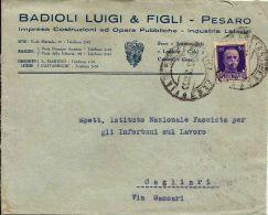 REGNO IMPERIALE 50 C 1942 ISOLATO PESARO X CAGLIARI - Storia Postale